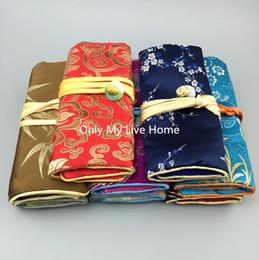 Jade Travel Jewelry Roll Packaging Bag Silk brocade 3 Zipper Pouch Drawstring Bag Cotton filled Folding Makeup Bag Women Gift