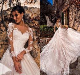 2019 Elegant Blush Pink Wedding Dresses Sheer V Neck Long Sleeve Lace Appliqued Court Train Bridal Gowns Vestidos De Noiva BC1977