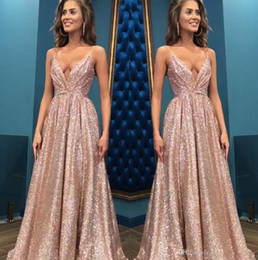 2019 Sexy Rose Gold Spaghetti Straps Sequined A Line Prom Dresses Ruched Backless Floor Length Formal Party Evening Gowns BC0494