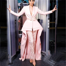 2019 Design Pink Long Sleeve Jumpsuits Evening Dresses Deep V Neck With Sash Elegant Satin Guest Dress Prom Gowns BC0303