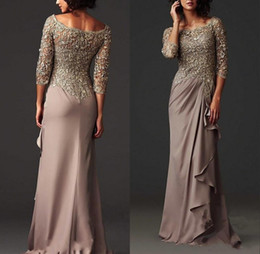 Arabic Modest Lace Mother Dress Elegant Scoop Neck Sheath Mother of The Bride Dresses Formal Evening Gown