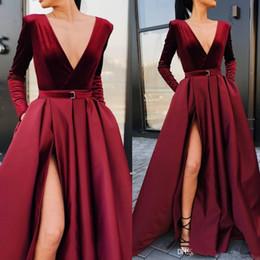 2019 New Burgundy Long Sleeves Satin A Line Evening Dresses Deep V Neck High Split Ruched Floor Length Formal Party Prom Dresses