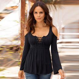 Large size 5xl Best-seller Women Sexy Off The Shoulder Long Sleeve V neck Shoulder Casual Tops Blouse C19031601