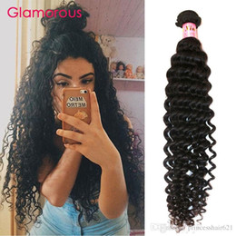 Glamorous Virgin Human Hair 1 Bundles Deep Wave Curly Brazilian Hair Weaves 8-34Inch Natural Color Peruvian Indian Curly Hair Extensions