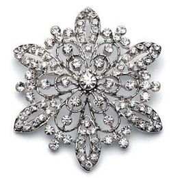 2.2 Inch Vintage Style Rhodium Silver Rhinestone Crystal Diamante Floral Bouquet Brooch Silver Gold Plating