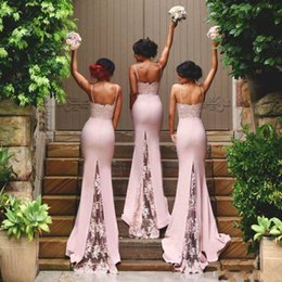 Mermaid Long Cheap Bridesmaid Dresses Simple Spaghetti Lace Blush Maid of Honor Gowns Formal Wedding Party Gowns Custom BA2752