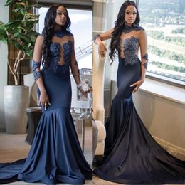 African Illusion Bodices Mermaid Prom Dresses 2019 High Neck Sheer Long Sleeves Lace Appliqued Formal Party Evening Gowns BC1007