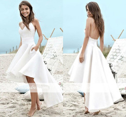High Low Short Wedding Dresses 2019 A Line Summer Beach Boho Bridal Gowns A Line Satin Backless Spaghetti Straps Party Gowns BC0354