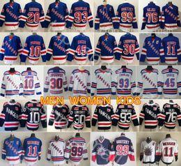 New York Rangers Jersey Hockey Artemi Panarin Mika Zibanejad 45 Kaapo Kakko Henrik Lundqvist Messier Chris Kreider Wayne Gretzky Brady Skjei