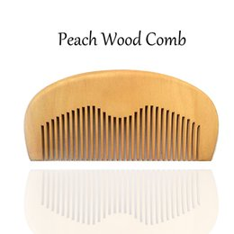 Wooden Beard Comb Fine Teeth Handmade Peach Wood Brush, Perfect for use with Balms and Oils, Top Pocket Comb for Beards Styling Wholesale
