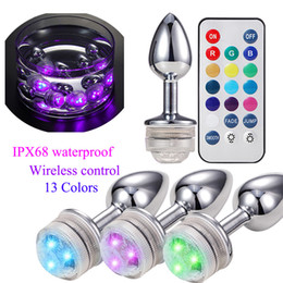 Attractive Remote Control LED Change Colour Metal Anal Plug Stainless Steel Colorful Butt Anus Booty Beads Prostate Massager Adult Sex Toy