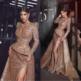 2020 Gold Deep V Neck Prom Dresses Sexy Mermiad Sequins Long Sleeves Formal Evening Dress High Slit Pageant Gown Plus Size
