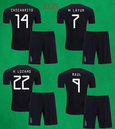 Kids Mexico Soccer Kit 2019 2020 DOS SANTOS CHICHARITO CARLOS V H.LOZANO Football Shirts Pants Boys Thai Quality Soccer Sets Sports Uniforms