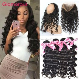 Glamorous 360 Lace Frontal With Baby Hair Natural Hairline Brazilian Malaysian Peruvian Natural Wave Human Hair 4 Bundles with 360 Closure