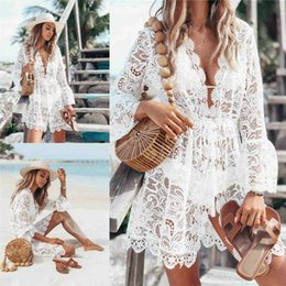 Cheap Little White 2019 Lace Evening Prom Dress Short Party Gowns A Line V Neck Long Sleeve Summer Boho Style Dress 1975