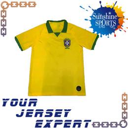 new Brazil soccer Jersey 2019 Home yellow Away blue 2020 MARCELO P.COUTINHO  PAULINHO DAVID LUIZ 19 20 Jerseys DANI ALVES 398414053