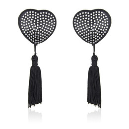 Reusable sexy heart-shaped Bling Diamonds Breast pad tit nipple cover sticker with tassels