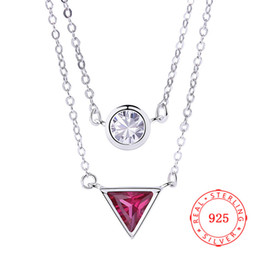 new love design rhodium plated 925 sterling silver double layer round triangle necklace high quality Guangzhou China wholesale