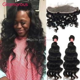 Glamorous Peruvian Indian Malaysian Human Hair 2 Bundles Brazilian Natural Wave Hair Weave with Frontal 13x4 Ear to Ear Lace Frontal Closure
