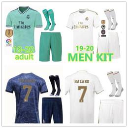2019 20 Real Madrid soccer jersey kit 19 20 HAZARD BENZEMA SERGIO RAMOS MORATA ISCO ASENSIO home Away football shirt Set sock
