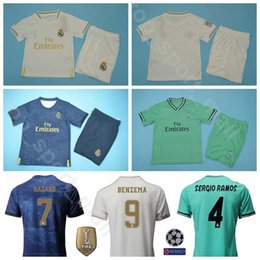 2019 2020 Real Madrid Soccer 7 Eden Hazard Jersey Set Men Home Away 10 Luka Modric 9 Karim Benzema Football Shirt Kits Uniform