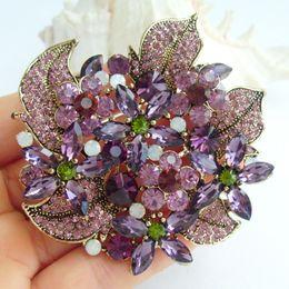 Elegant Flower Brooch Pin w Purple Rhinestone Crystals EE06029C1