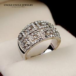 Brand Design White Gold Color Zirconia Fully Studded Retro Rome Paved G Design Women Finger Ring Wholesale