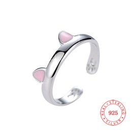 High quality solid 925 sterling silver adjustable cute pink ear Cat's paw ring for fashion office ladies cat rings