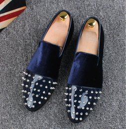 2019 European brand rivet men's moccasins loafers black blue slip-On men's Dress Wedding shoes Prom Party men height Increasing shoes LF4