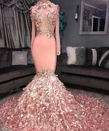 Real Images Gorgeous Pink Cascading 3D Flowers Prom Dresses Sheer Long Sleeves Applique High Neck Evening Gowns Custom Made BC1046