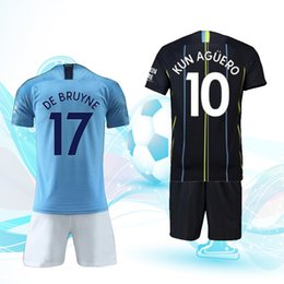 Free shipping, 18 19 football uniforms, 10 pieces of Aguero jerseys, short sleeve jerseys, you can print names and numbers.