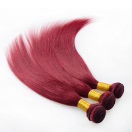 7A European virgin hair Straight 3 bundles machine weaving double sewn 99j 100% unprocessed remy human hair extensions Burgundy Hair Weaving