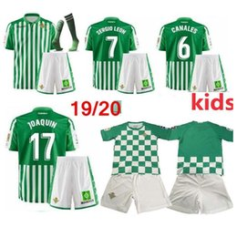 kids kit 19 20 real Betis soccer jerseys home JOAQUIN 2019 2020 child football shirts CARVALHO WILLIAM TELLO BARTA boys camiseta de fútbol
