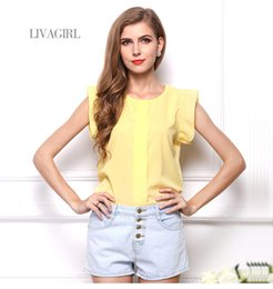 Women Cloth Summer Womens Chiffon Blouse Solid Color Short Pleated Sleeve O Neck Ruffled Pullover Tops