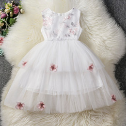 Retail kids designer girls dresses Embroidered Tulle Vest Princess Dress Summer Sleeveless Fashion Flower Appliqued Ruffle party Dresses