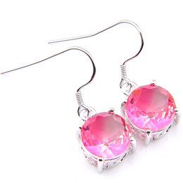 6 Pairs Luckyshine Holiday gift Pink Colored Bi-Color Tourmalin Gems 925 Sterling Silver Plated Handmade Silver Jewelry Earring For Women