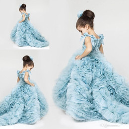 Ice Blue Tulle Girls Pageant Dresses Lace Applique Top Bow Sash Layered Ruffles Wedding Sweep Train Flower Girls' Dresses BO9289