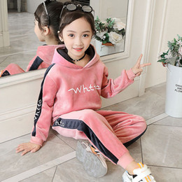 Retail Boys Girls gold velvet plus thick hooded sports tracksuit kids 2pcs outfits soccer tracksuit kids designer tracksuits Clothing Sets