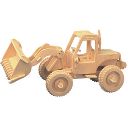Free shipping ---Engineering Forklift Wooden Jigsaw 3D Simulation Model DIY Stereo Jigsaw Children Unisex Hand-made Puzzle Toys