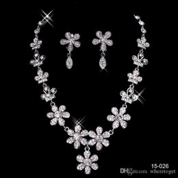 Cheap Rhinestone Bridal Jewelry Sets Earrings Necklace Crystal Bridal Prom Party Pageant Girls Wedding Accessories Free Shipping 15026