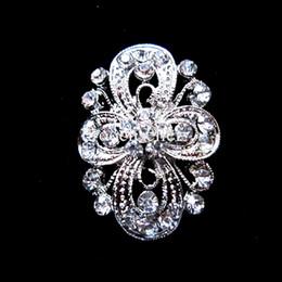 Silver Plated Clear Rhinestone Crystal Flower Design Small Collar Pin Brooch