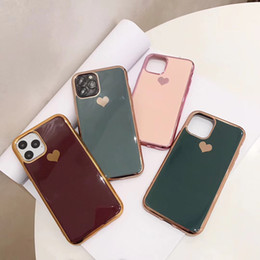 Luxury Electroplated Love Heart Phone Case for Iphone 11 11pro Max X Xs Max 6 Soft Tpu Silicone Case for Iphone 7 8 Plus Xr Cover