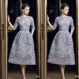 Elie Saab Evening Dresses Elegant Lace Applique A-Line Prom Gowns 3 4 Long Sleeve Tea Length Sexy Formal Party Celebrity Dress Customized