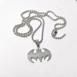 Wholesale Small Stainless Steel Hero The Batman Black Bat Logo Pendent w ball Necklace 24inch shipping free