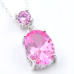 Wholesale Luckyshine Fashion Oval Fire Pink Topaz Gems Silver Xmas Gift Pendants Necklaces Jewelry Women Crystal Zircon Pendant 5 pcs