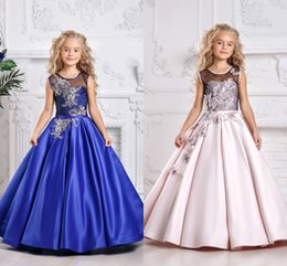 Holy Royal Blue Lace Princess Flower Girl Dresses 2019 Ball Gown First Communion Dresses For Girls Sleeveless Tulle Toddler Pageant Dresses