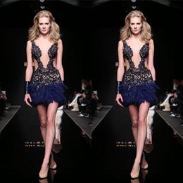 Sexy Navy Sheath Applique Feather Cocktail Dresses Sequins Sheer Plunging Neck Sleeveless Short Club Party Prom Dress