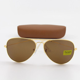 50pcs Brand Fashion Txrppr Pilot Men Women Unisex Classic Sunglasses Gold frame Brown Glass 58mm Len Glasses Eyewear for Driving come Box