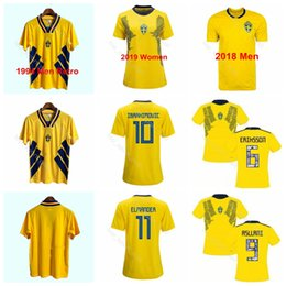 Men Women 1994 Sweden 2018 World Cup 2019 Soccer 9 Kosovare Asllani Jersey 5 Nilla Fischer 17 Caroline Seger Football Shirt Kits Uniform