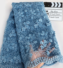 sky blue 5 Yards soft African lace Swiss French Lace Fabric With Lots Of Sequins Beads 3D Appliques